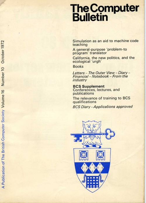 Scan of Document: The Computer Bulletin October 1972