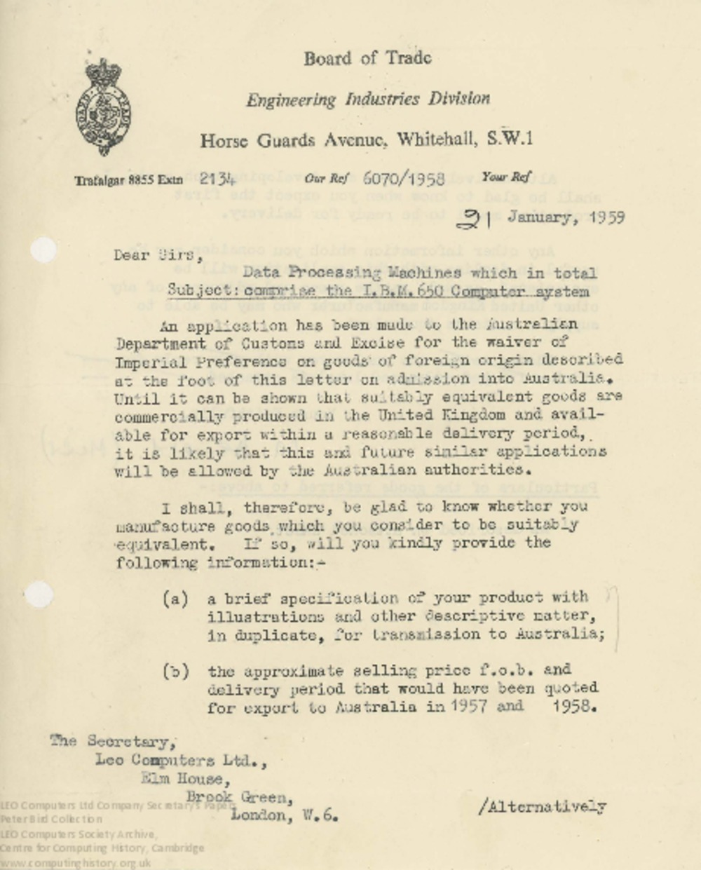 Article: 62460  Correspondence with the Board of Trade concerning waiving of 'Imperial Preference' for IBM equipment imported into Australia, Jan 1959