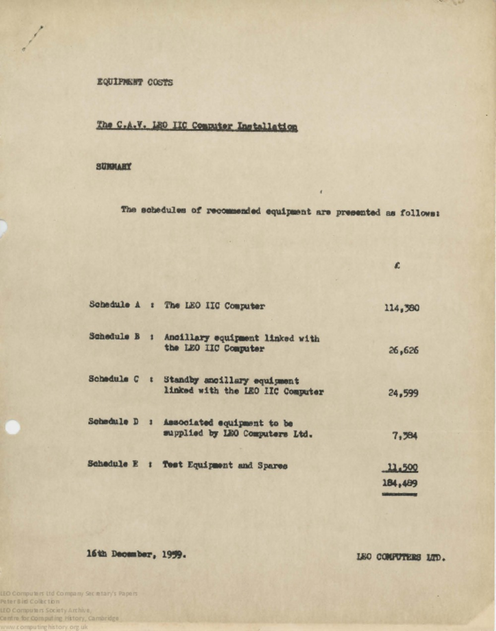 Article: 62465  Schedule of Equipment Costs (Quotation) for LEO II installation at CAV, 16 Dec 1959