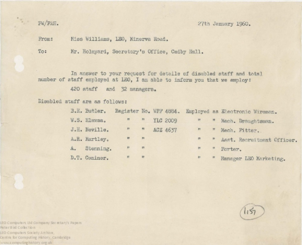Article: 62466  LEO Computers Staff and Disabled Staff, 27 Jan 1960