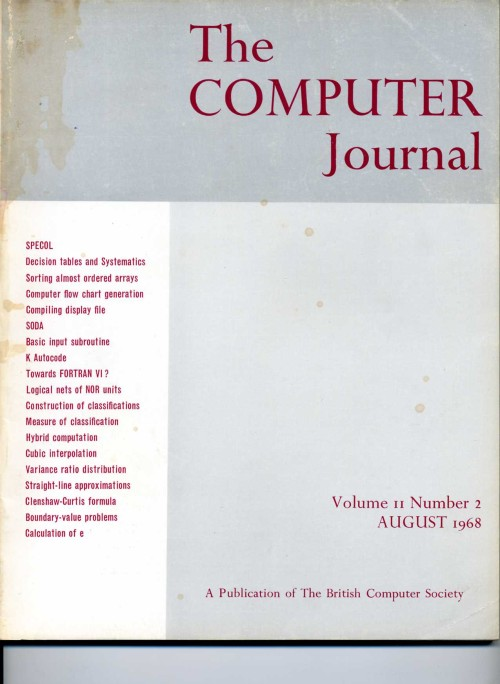 Scan of Document: The Computer Journal August 1969