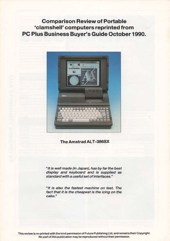Scan of Document: Amstrad ALT-386SX Clamshell review - PC Business