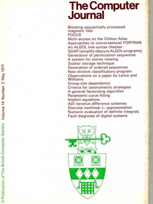 Scan of Document: The Computer Journal  May 1971