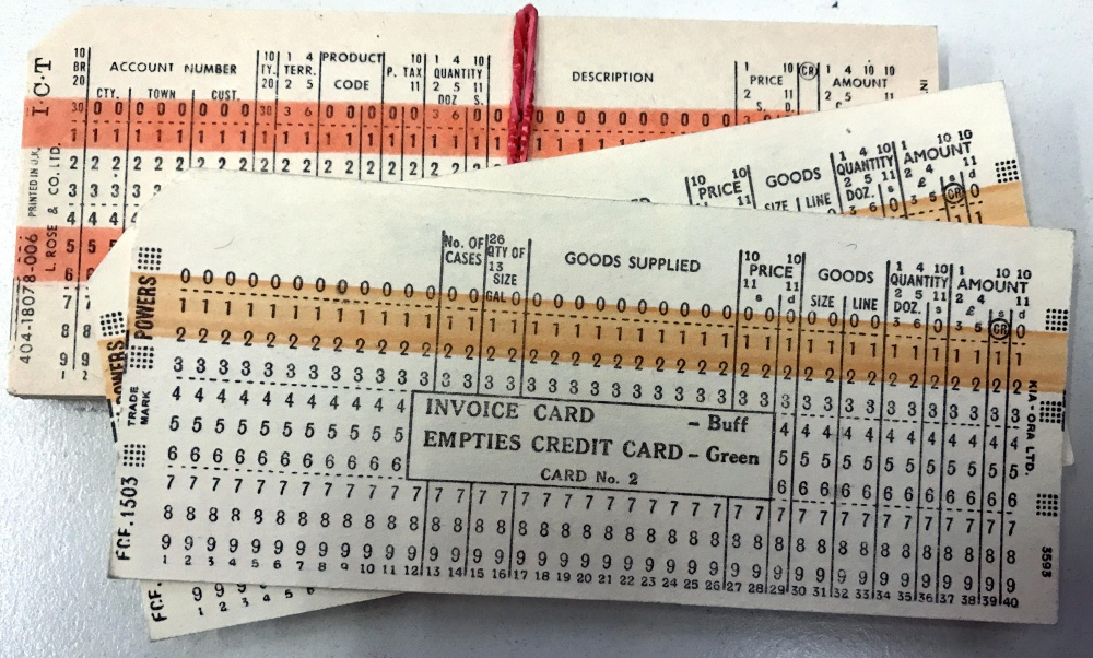 Scan of Document: Invoice/order Punched Cards