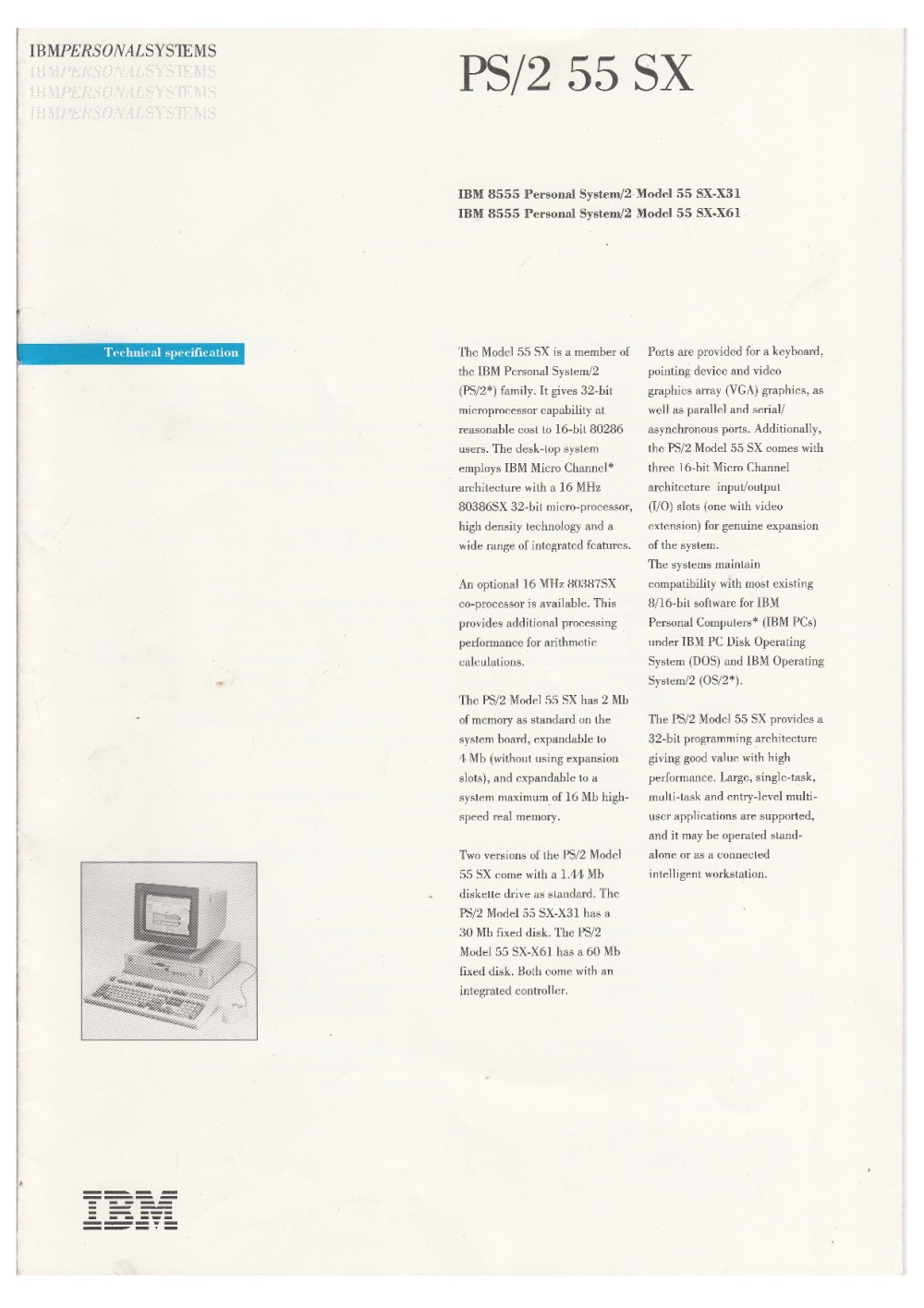 Scan of Document: IBM PS/2 55 SX - Technical Specifications Brochure