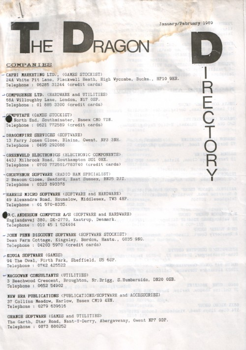 Scan of Document: Dragon Directory - January/February 1989