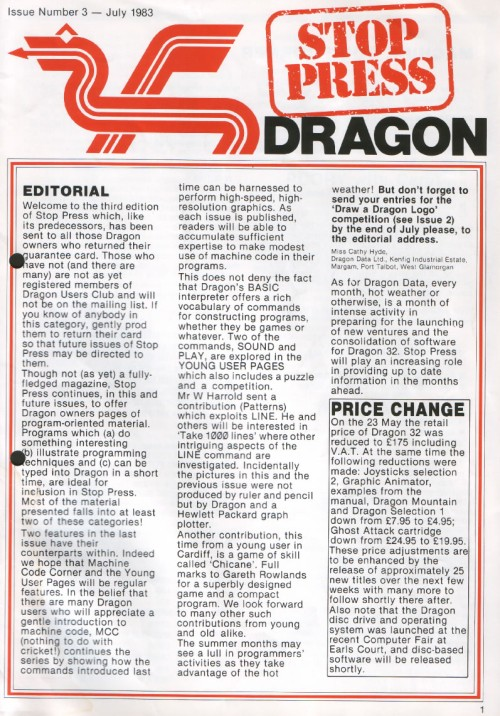 Scan of Document: Dragon Stop Press - Issue 3 - July 1983