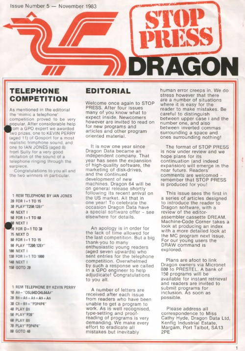 Scan of Document: Dragon Stop Press - Issue 5 - November 1983