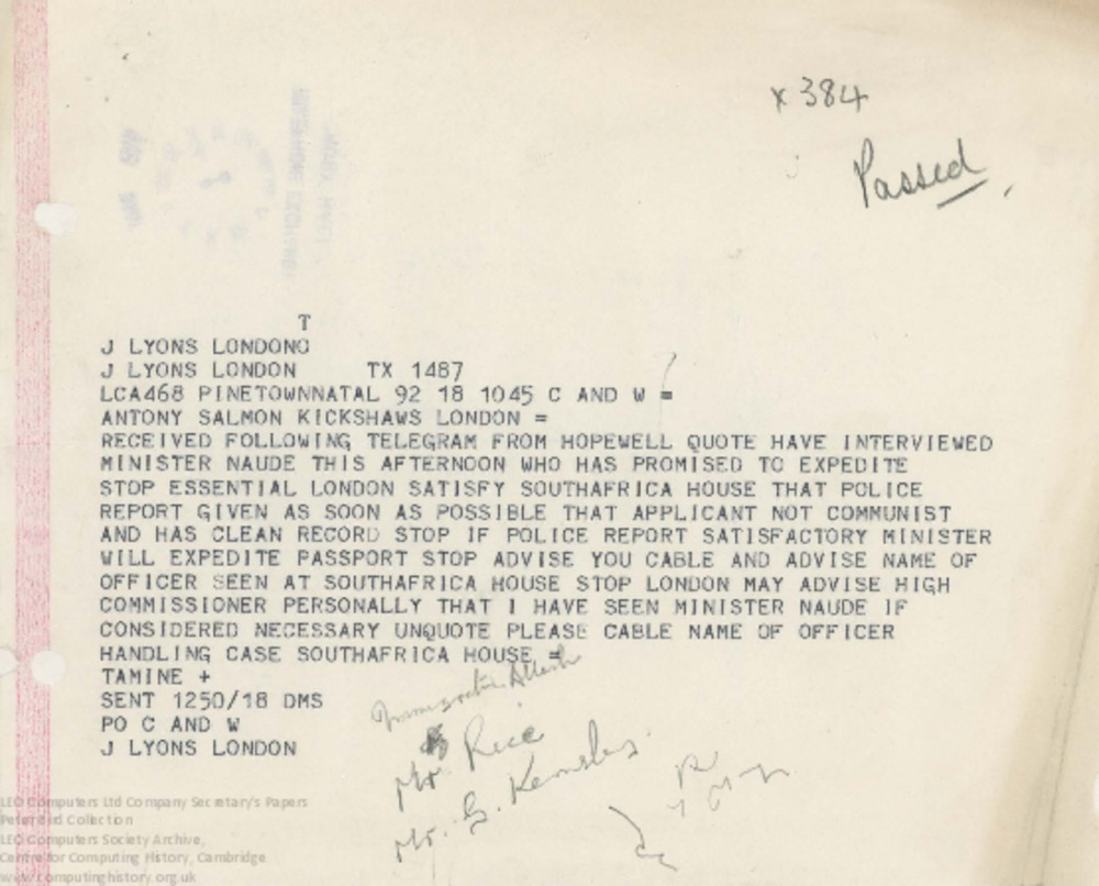 Article: 62841 South Africa telex, 18th May [1960?]