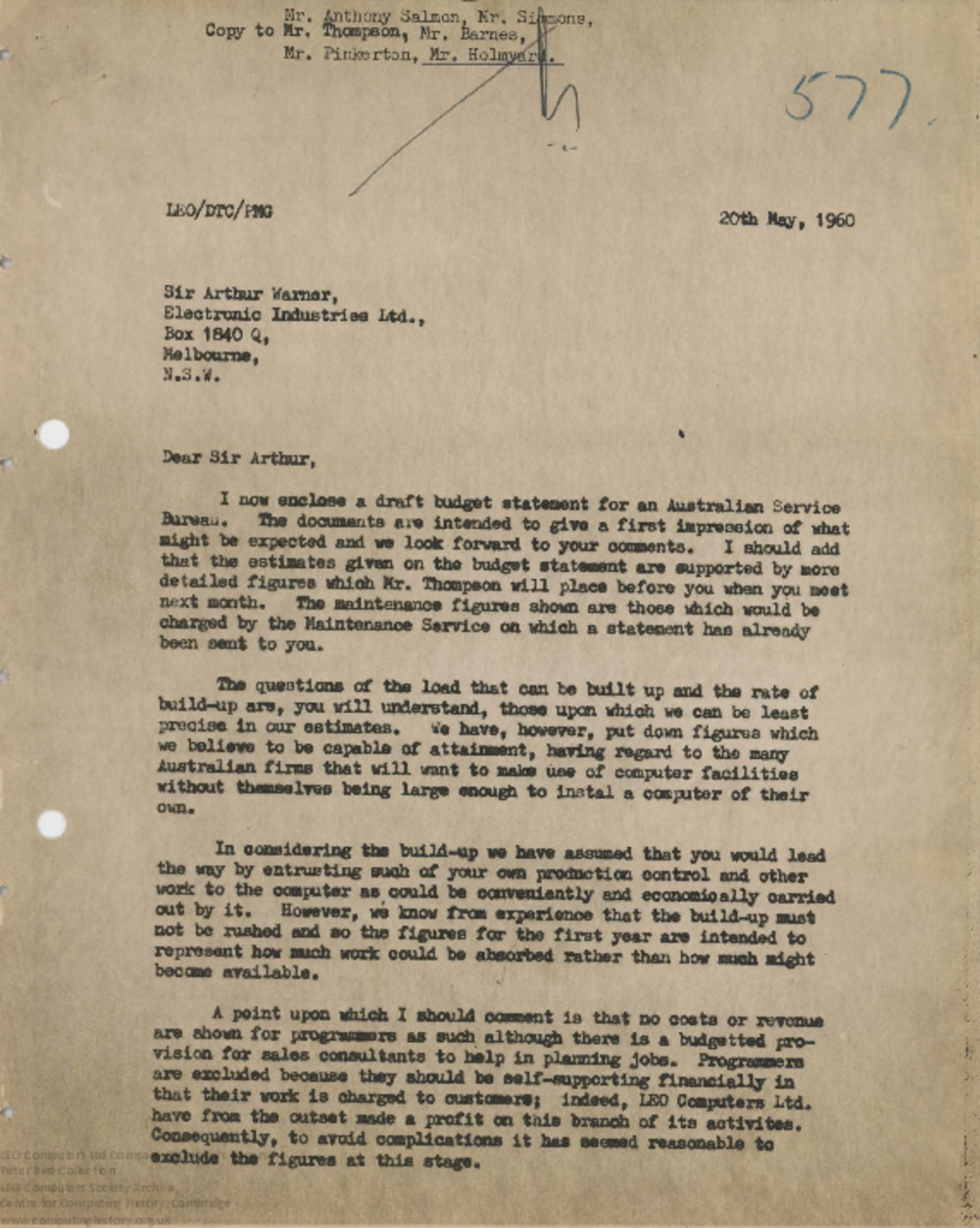 Article: 62843 Draft Budget Statement for an Australian Computer Service Bureau, 20th May 1960