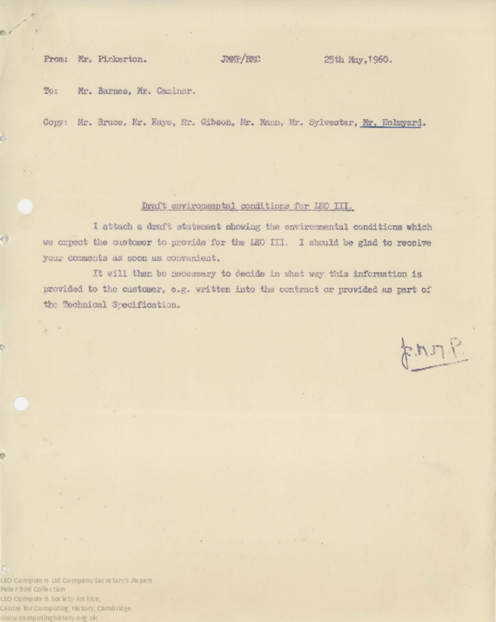 Article: 62844 Draft Recommended Environmental Conditions for LEO III, 25th May 1960