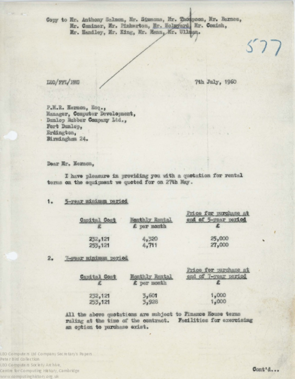 Article: 62846 Rental Quotation for Dunlop, 7th Jul 1960