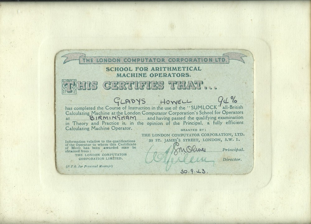 Scan of Document: Certificate for Completion of Course of Instruction for Sumlock Calculating Machine
