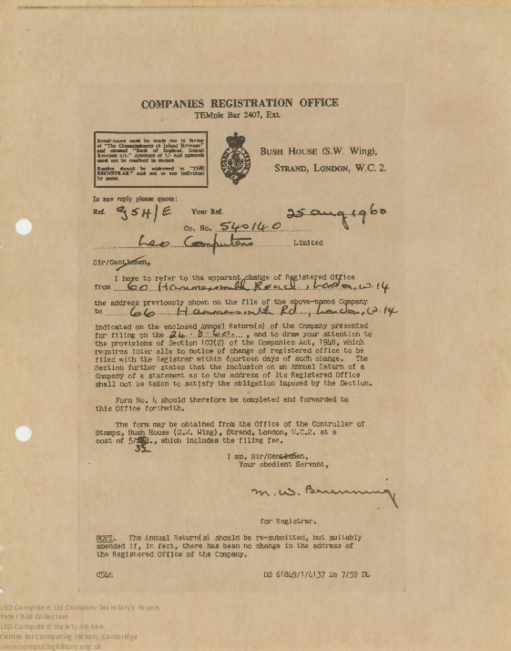 Article: 62847 Change of Registered Address for LEO Computers Ltd, 25th Aug 1960