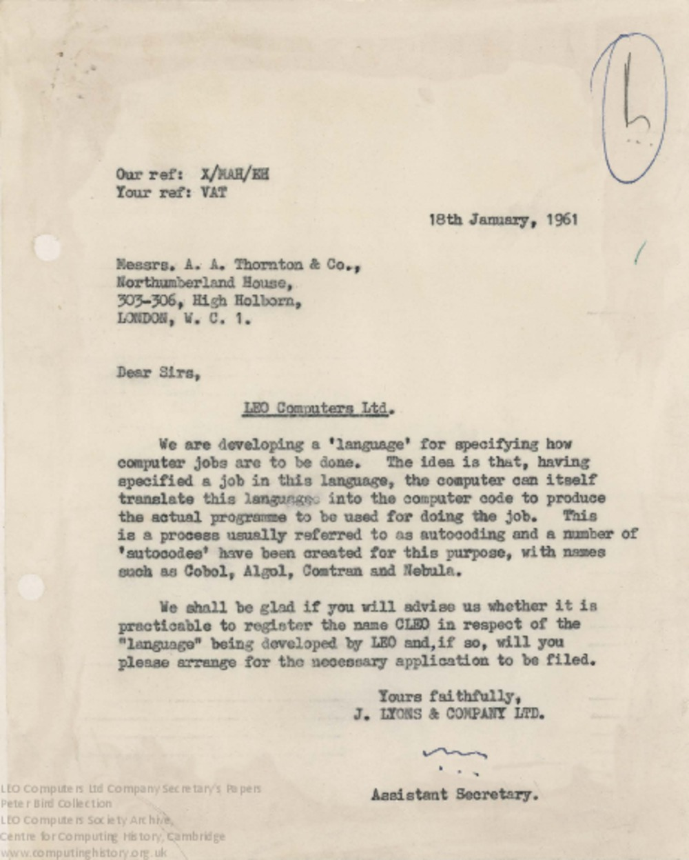 Article: 62848 Legal Opinion on Copyright in Programming Languages, Jan-Feb 1961