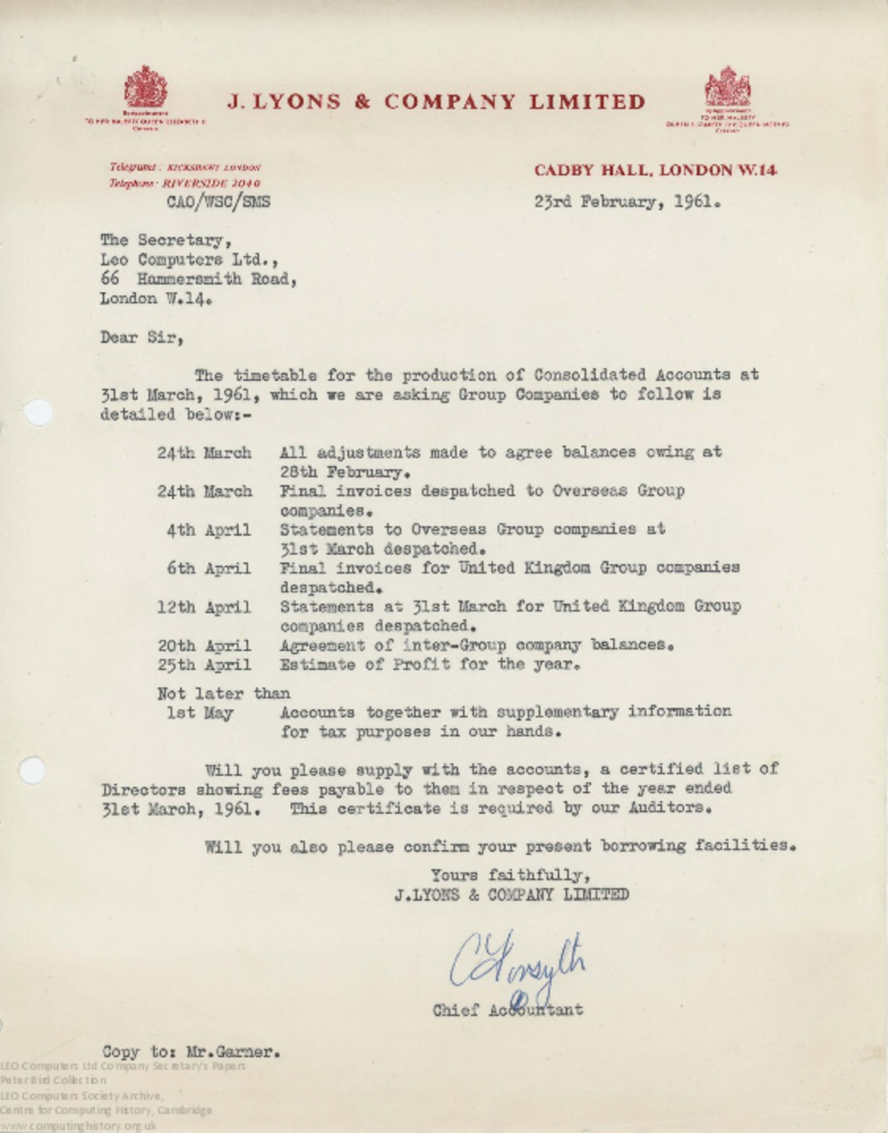 Article: 62849 Timetable for Consolidated Accounts, 23rd Feb 1961