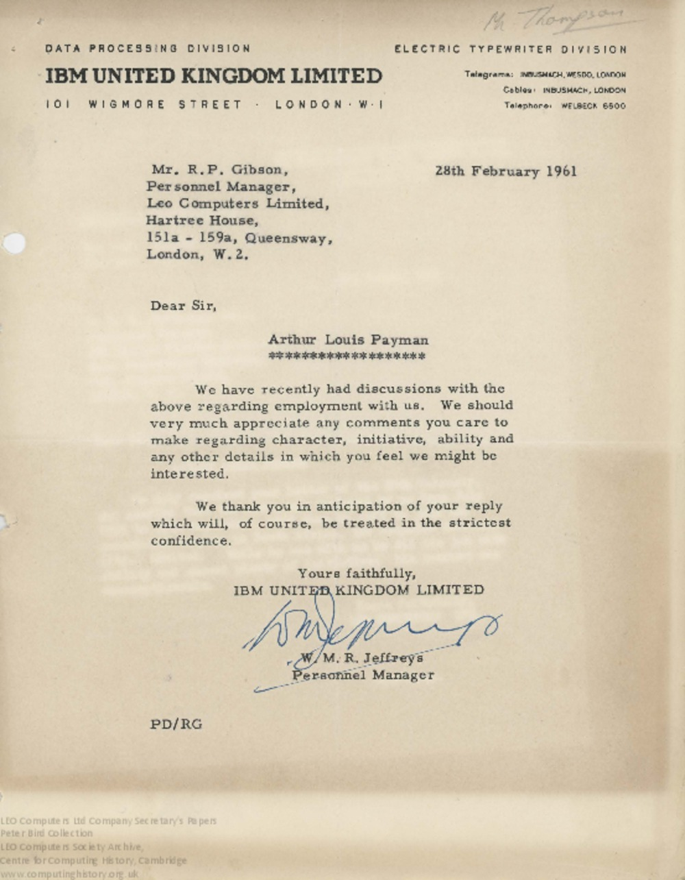 Article: 62850 Reference for Arthur Payman, Feb-Mar 1961