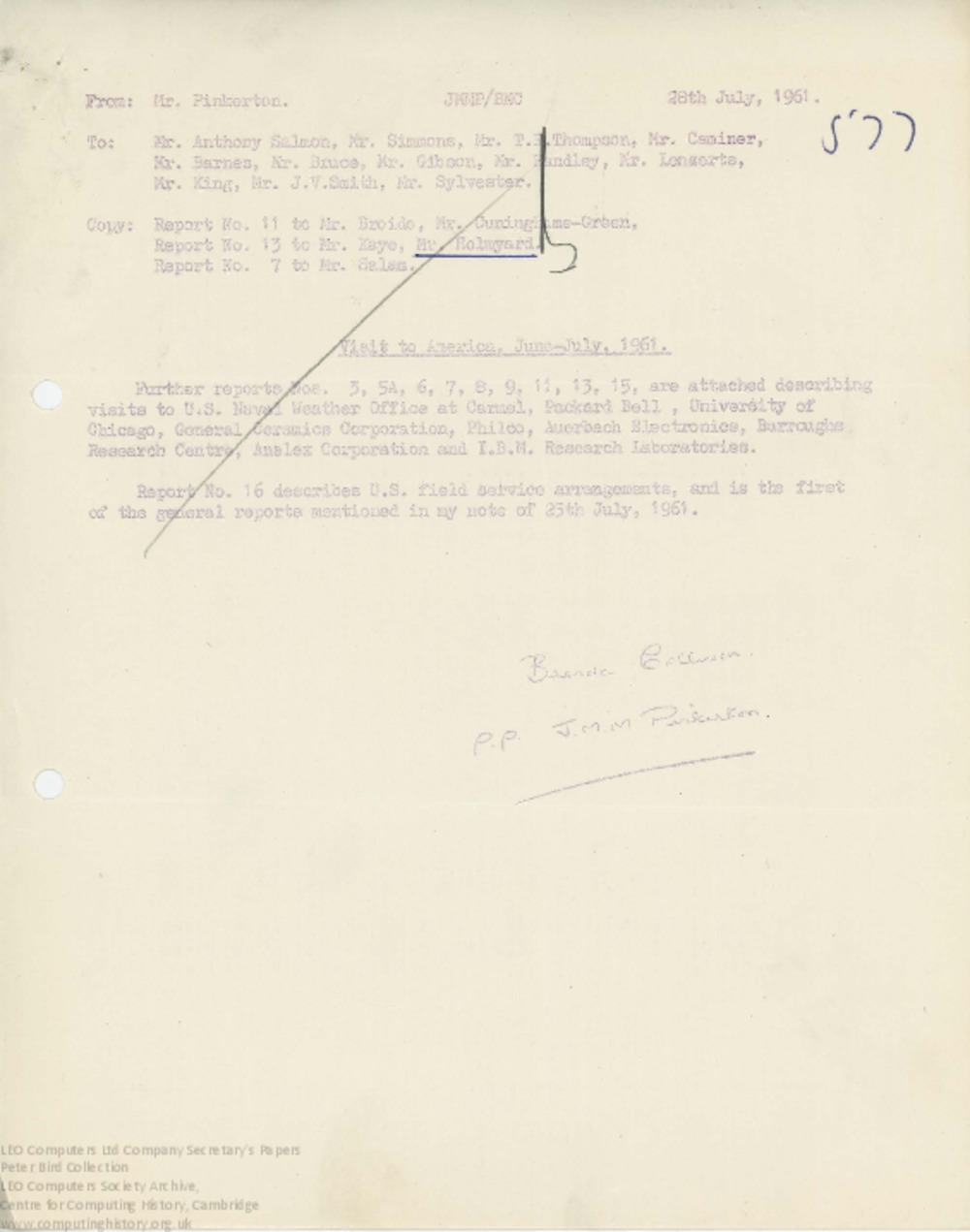 Article: 62852 Report on Visit to Anelex Corporation, Jul 1961