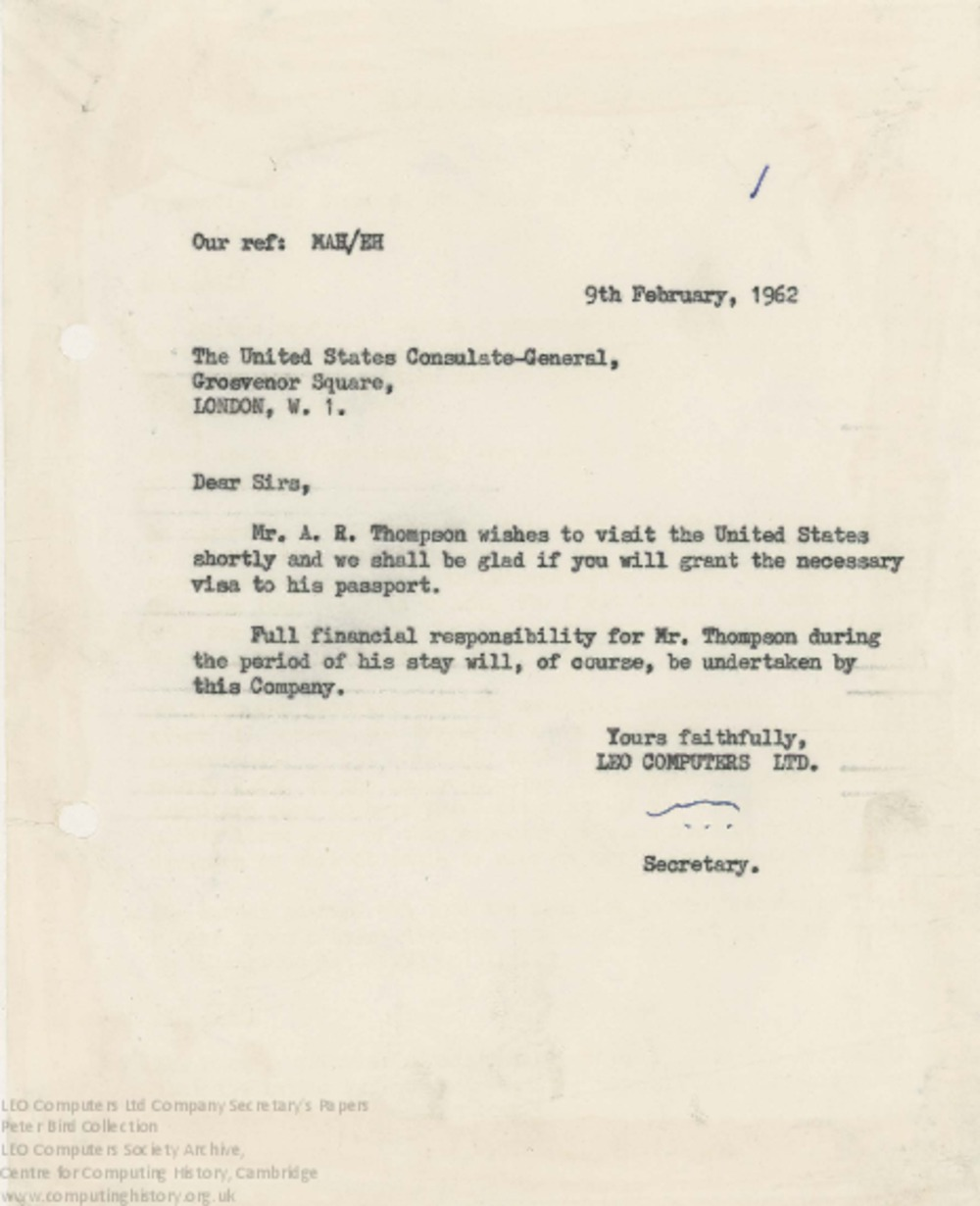 Article: 62858 US Visa request for T.R. Thompson, 9th Feb 1962