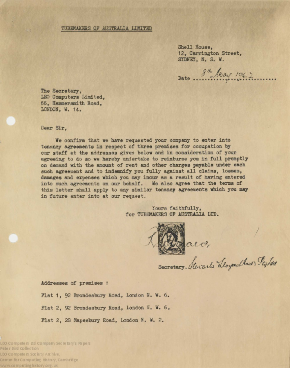 Article: 62860 Tenancy agreements for premises in London, 8-19th May 1962
