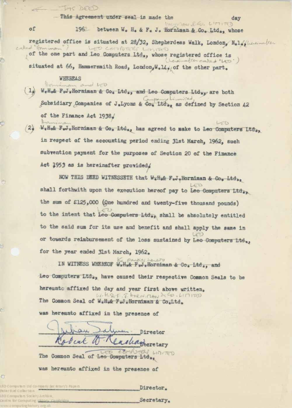Article: 62861 Subvention payments to Lyons subsidiary companies, Apr-Jul 1962