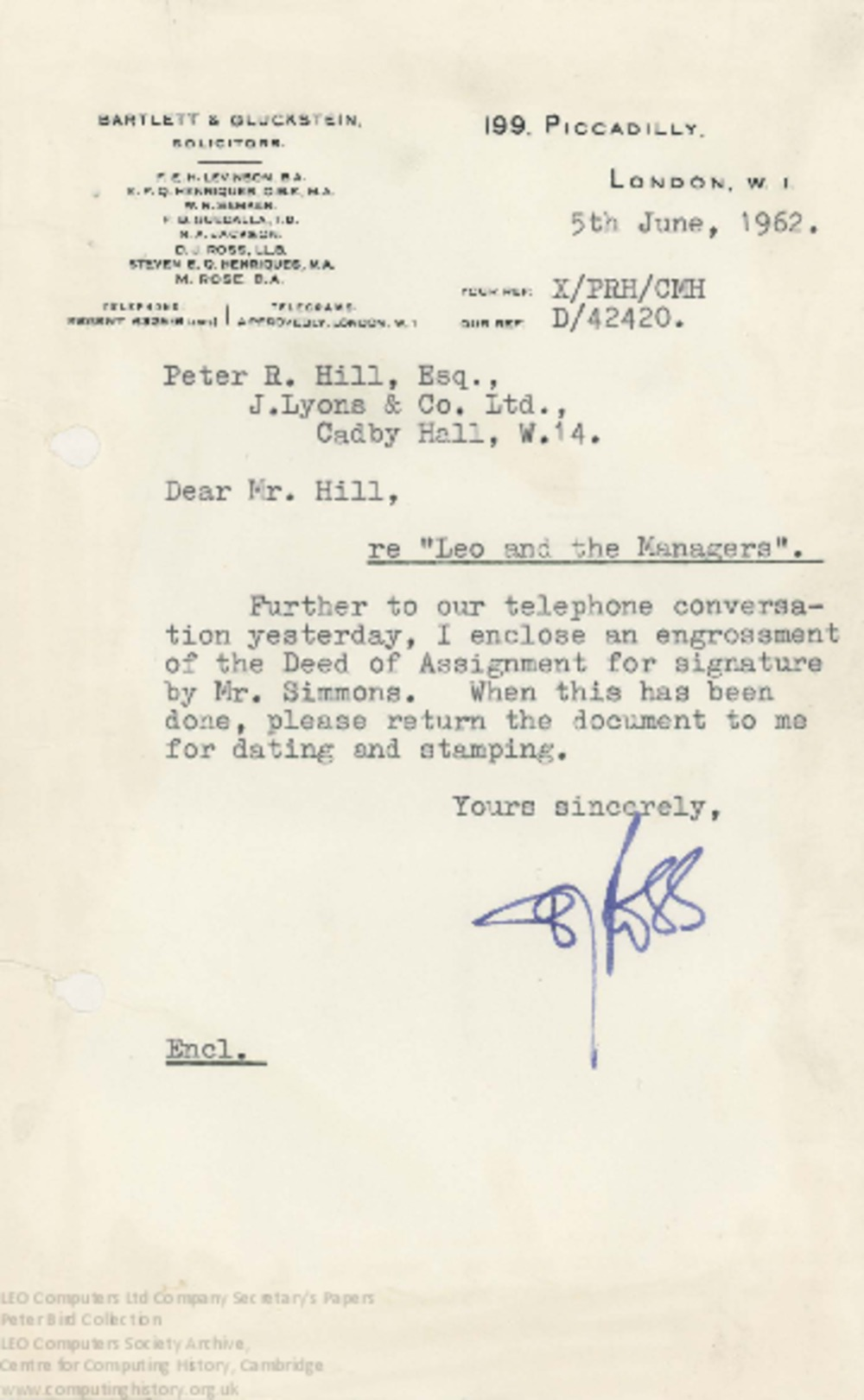 Article: 62864 LEO and the Managers assignment of rights, 5th June 1962