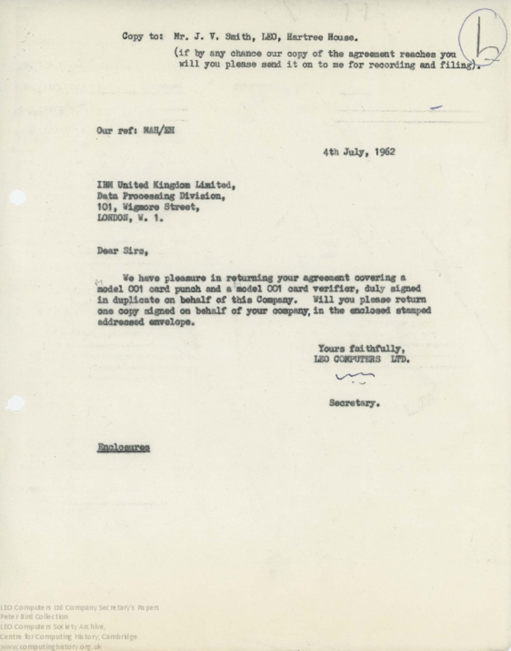 Article: 62867 IBM Equipment Hire Agreement, July 1962