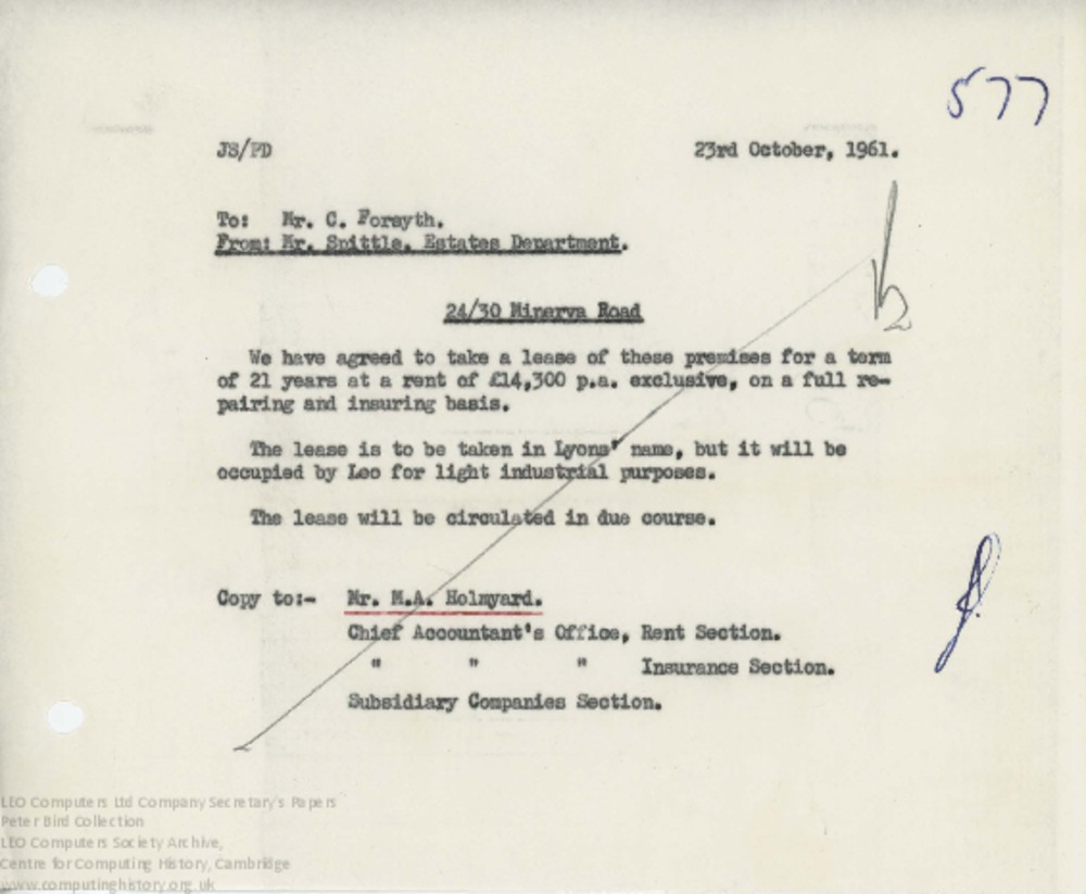 Article: 62854 Lease of Minerva Road Offices, Oct 1961