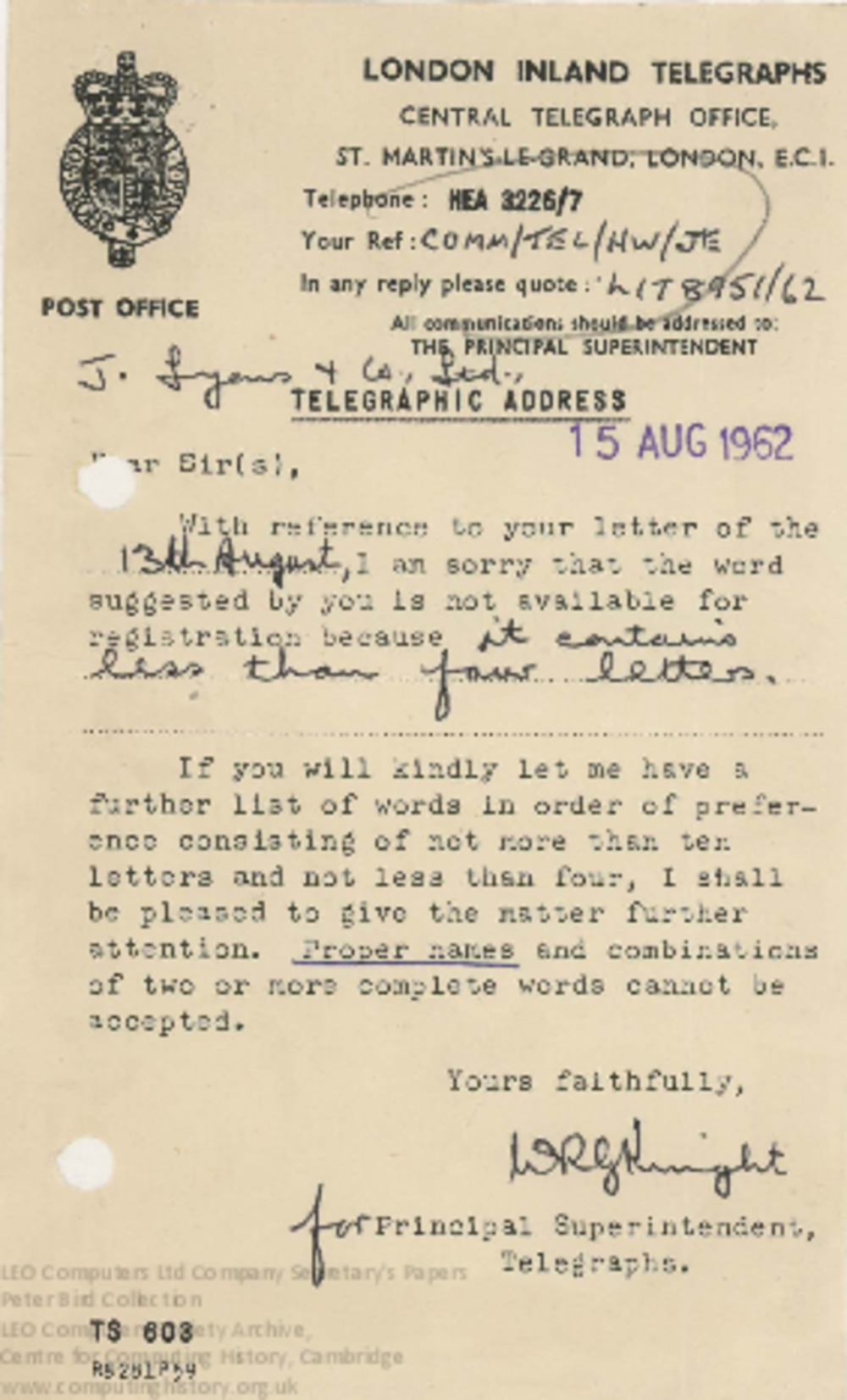 Article: 62869 Telegraph Address for LEO Computers Ltd, August 1962-January 1963