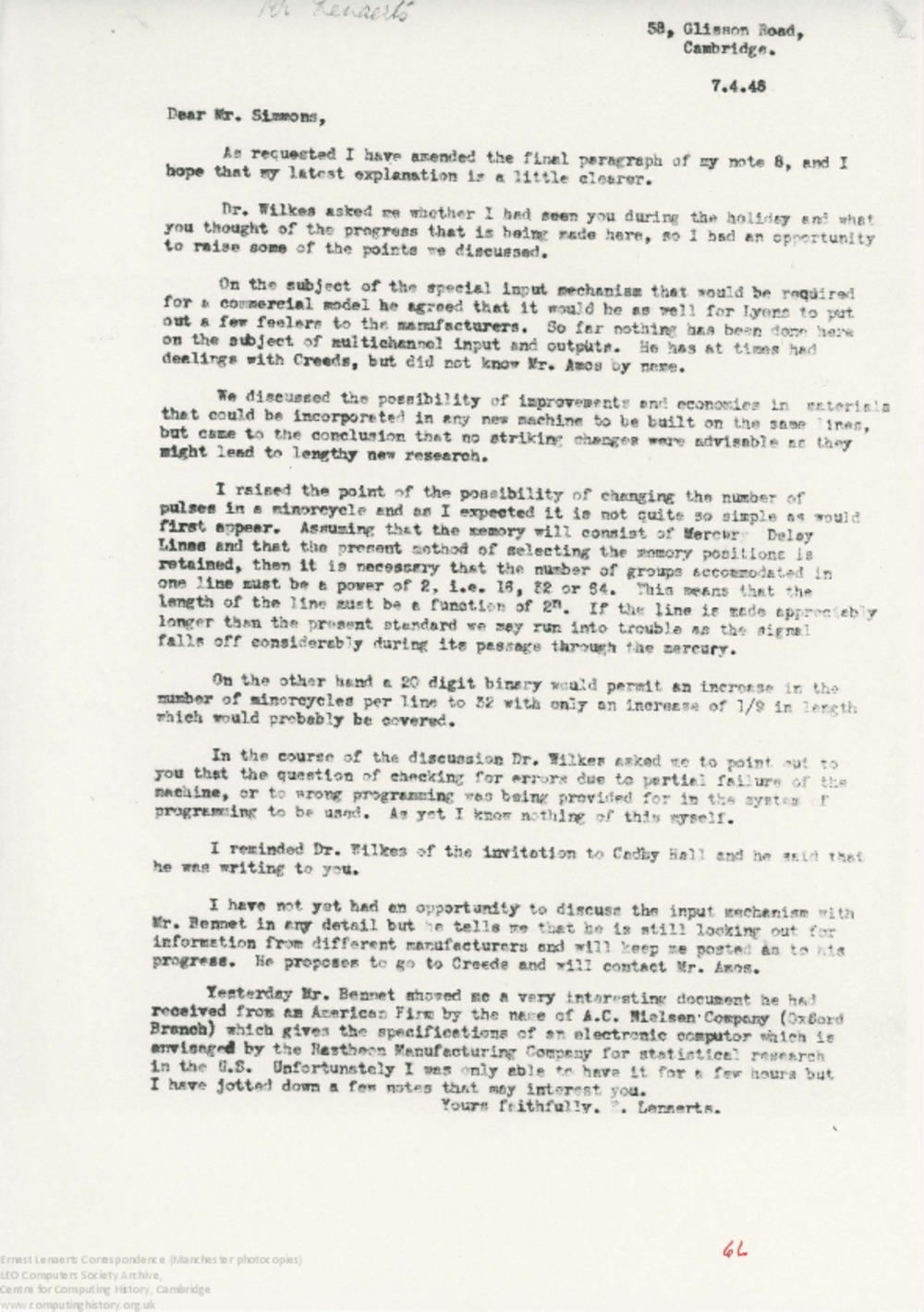 Article: 62891 Lenaerts reporting back from Cambridge, part 3 - Apr-May 1948
