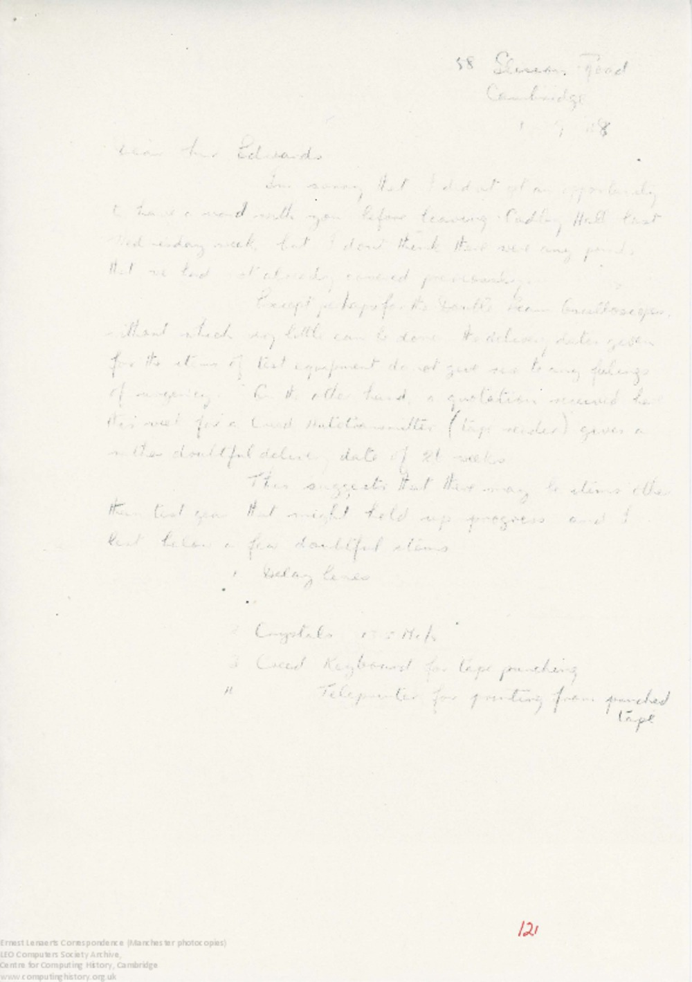 Article: 62895 Lenaerts drafts of notes/papers in preparation for preliminary work on LEO I, 1948-49