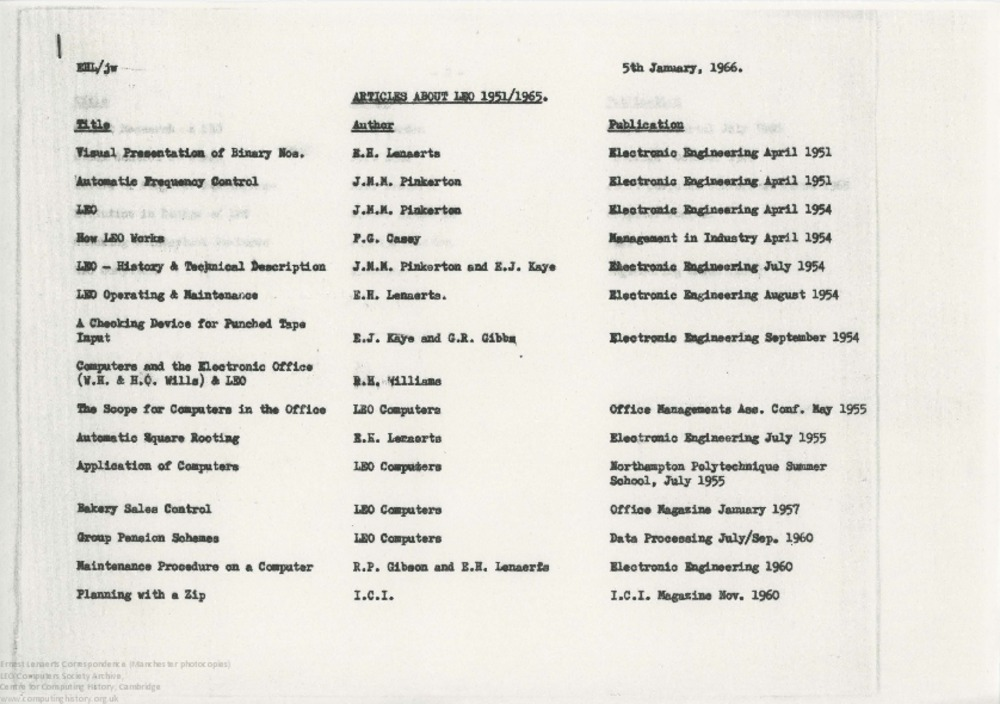 Article: 62898 Lenaerts: Articles About LEO 1951-65, 5th Jan 1966