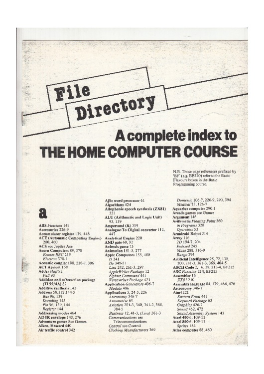 Scan of Document: The Home Computer Course - File Directory