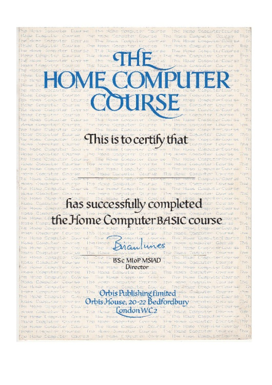Scan of Document: The Home Computer Course - Completion Certificate
