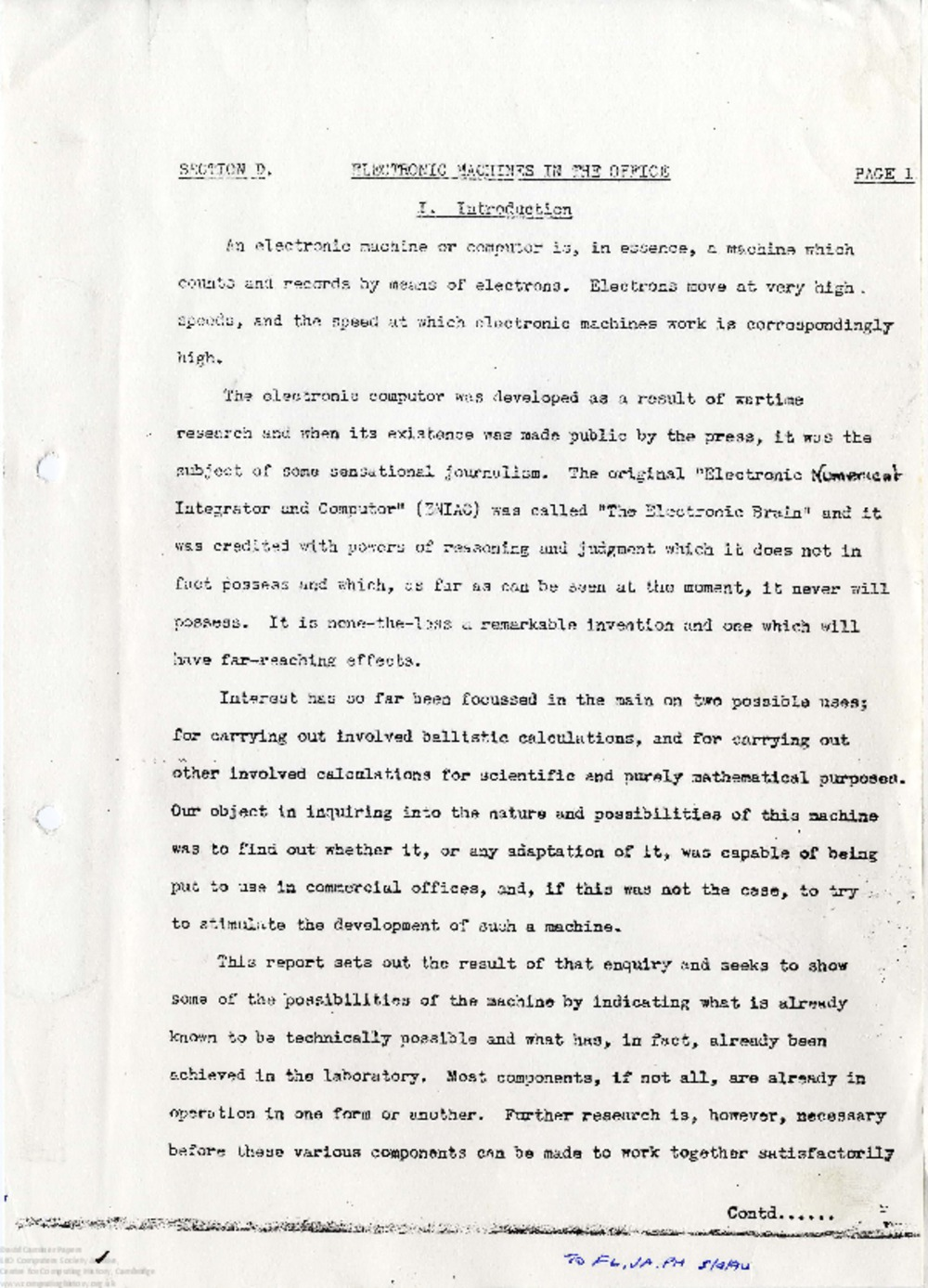 Article: 63012 Section D - American Tour Report, May and June 1947