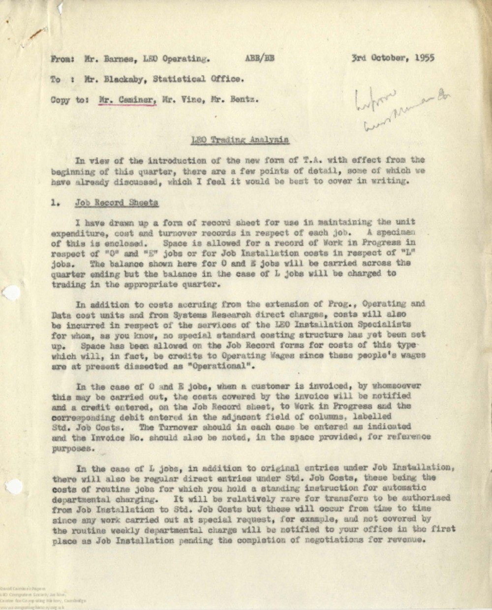 Article: 63032 December 1955 Quarter End - Correspondence and Trading Analysis