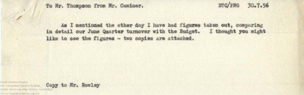 Article: 63035 September 1956 Quarter End - Correspondence and Trading Analysis