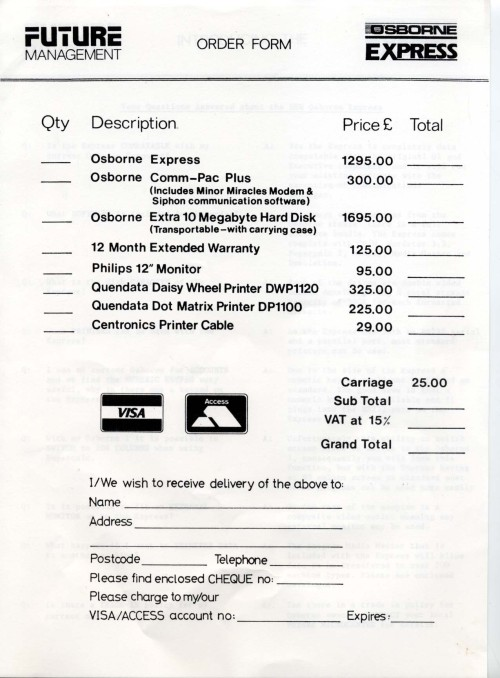 Scan of Document: Osborne Express Price List and Order Forms