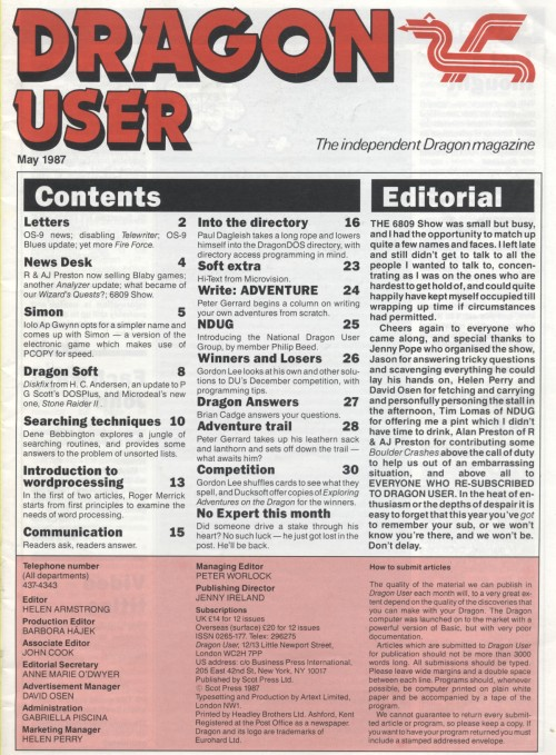 Scan of Document: Dragon User - May 1987