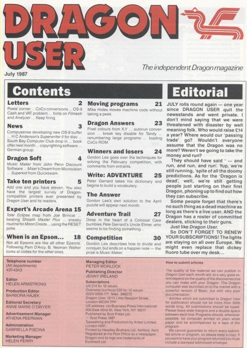 Scan of Document: Dragon User - July 1987