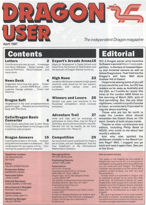 Scan of Document: Dragon User - April 1987