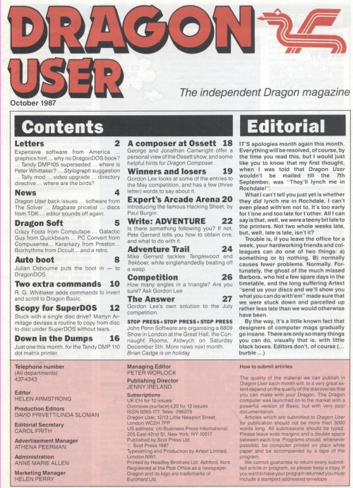 Scan of Document: Dragon User - October 1987