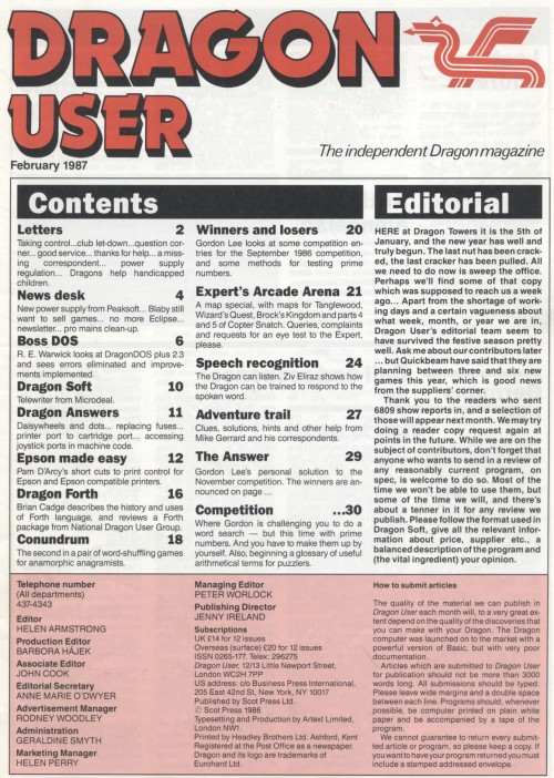 Scan of Document: Dragon User - February 1987
