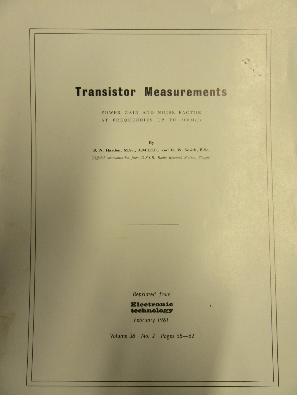Article: 1950s Transistor Research Papers with Photographs and Author Information