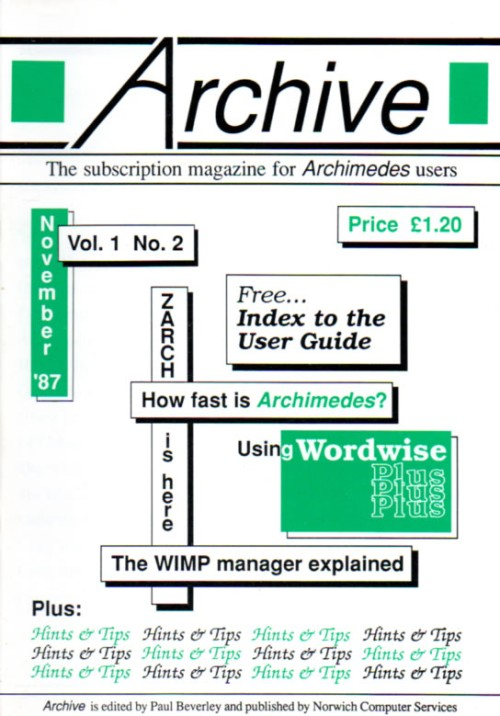 Scan of Document: Archive - Vol 1, No 2 - November 1987