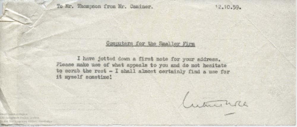Article: 57763 Memo from David Caminer to TR Thompson (12 Oct 1959)