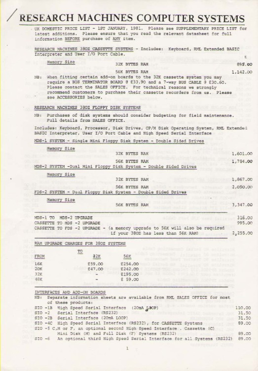 Scan of Document: Research Machines Price List January 1981