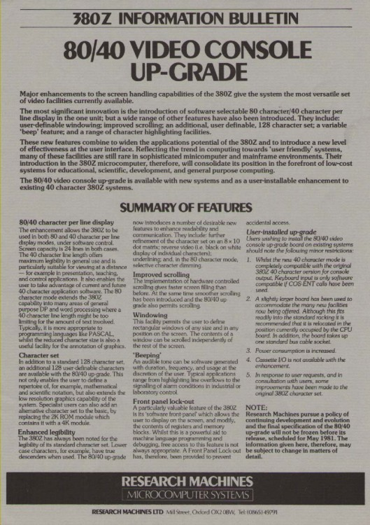 Scan of Document: Research Machines 380Z 80/40 Video Console Upgrade