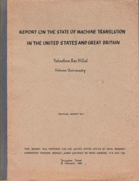 Scan of Document: Report on the state of machine translation in the United States and Great Britain