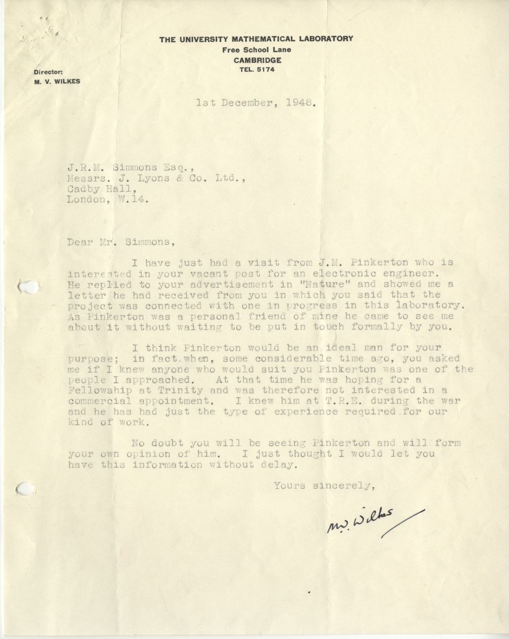 Scan of Document: 54426 Letter from Maurice Wilkes to John Simmons